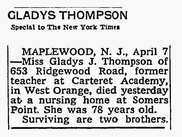 GladysThompson's New York Times Obituary