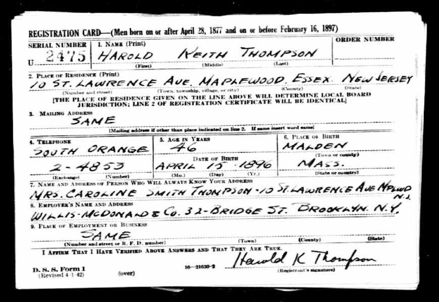 Harold Kenneth Thompson's WWI Draft Card.