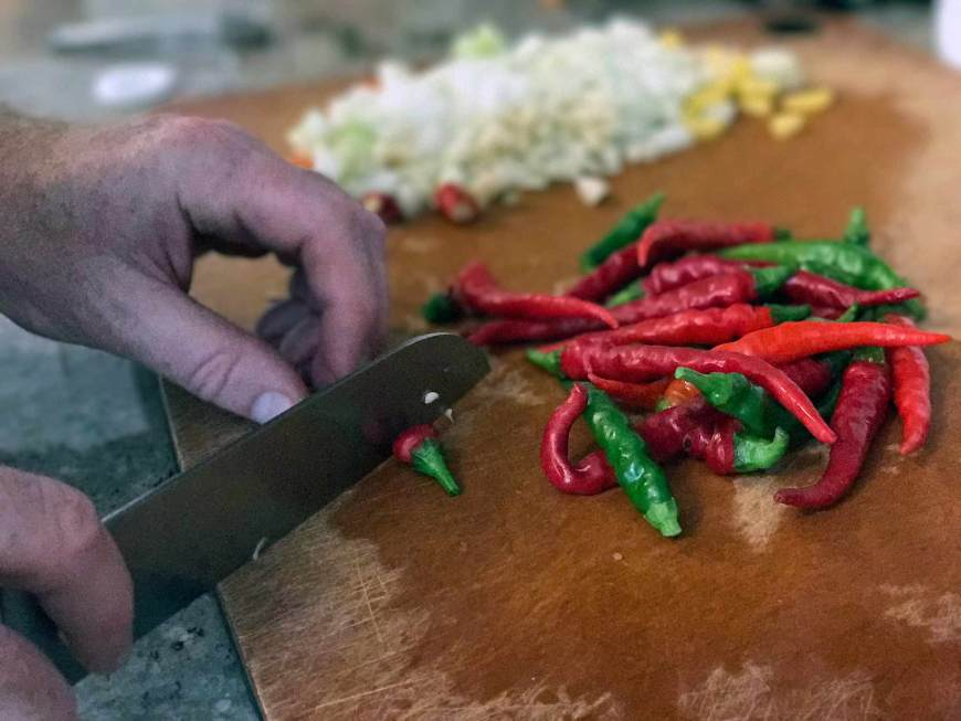 Give cayenne, cherry peppers, jalapenos – a rough chop Old Grand-Dad Kentucky Hot Sauce.