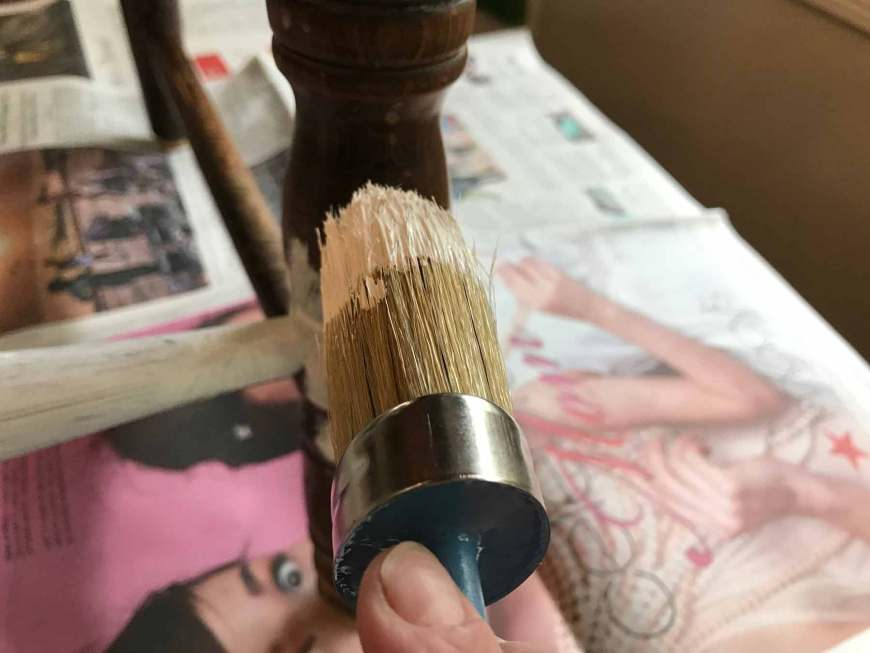 Using the Oval Annie Sloan brush, paint in all directions. You may need to repeat if there are many curves and nooks.