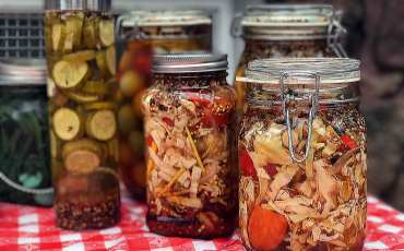 Jars of pickled vegetables at Oktoberfest.