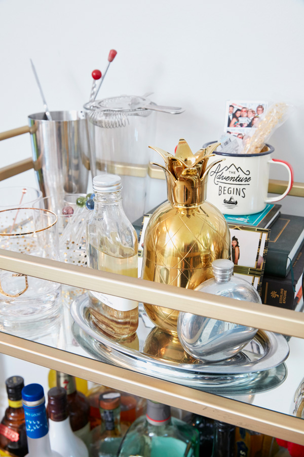 Stylish bar cart vignette