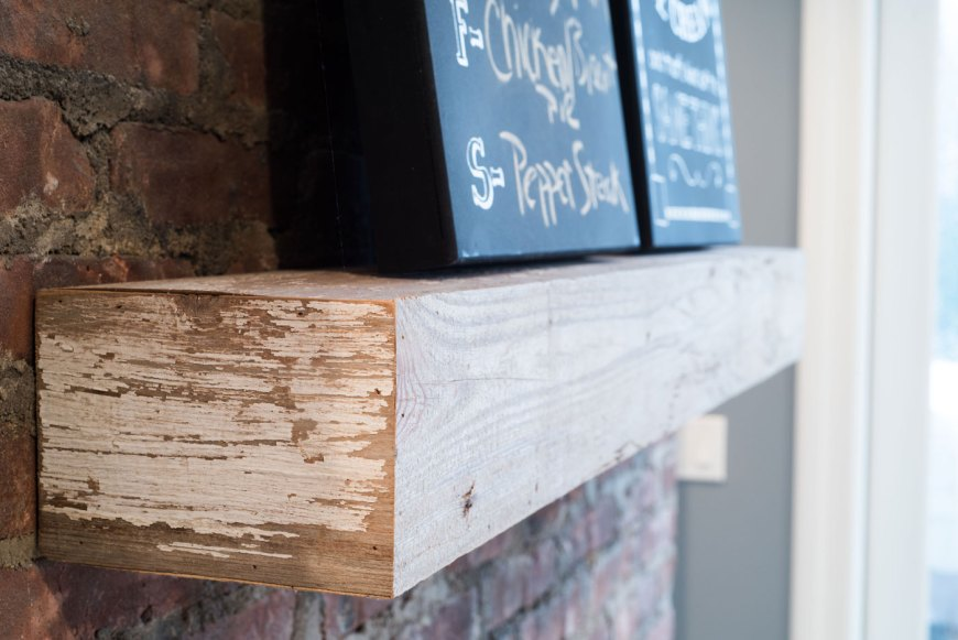 Shelf crafted from reclaimed barn wood. Real Antique Wood in Irvington, NJ produced this piece especially for the kitchen remodel.