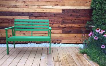 How to Hire a Contractor , Cedar wall and platform with green bench
