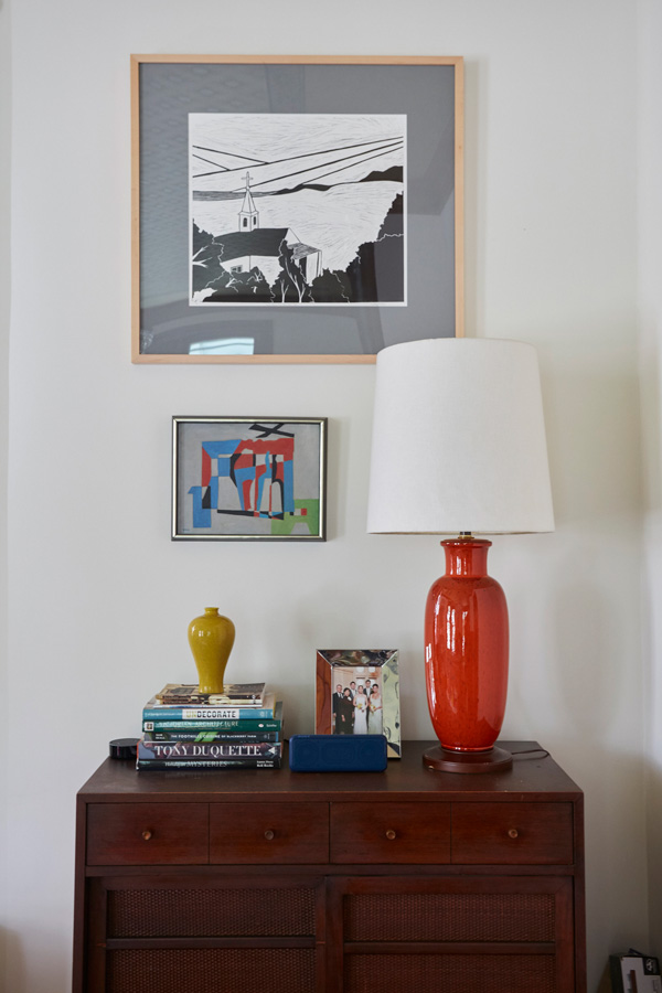 Jess Davis, owner of Nest Studio, an interior design vignette in her South Orange NJ Victorian