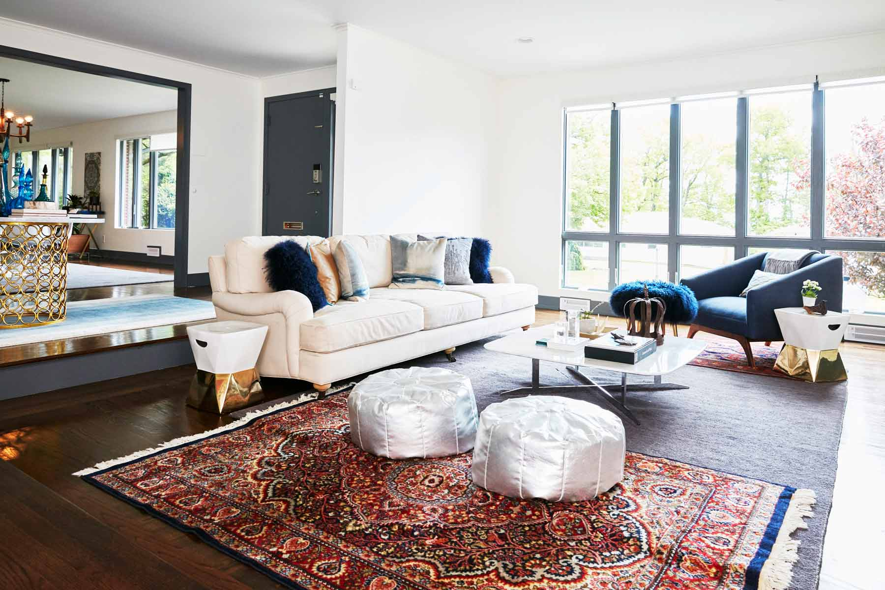 Nureed saeed's sunken family room in her mid-century modern home. Located in South Orange, NJ