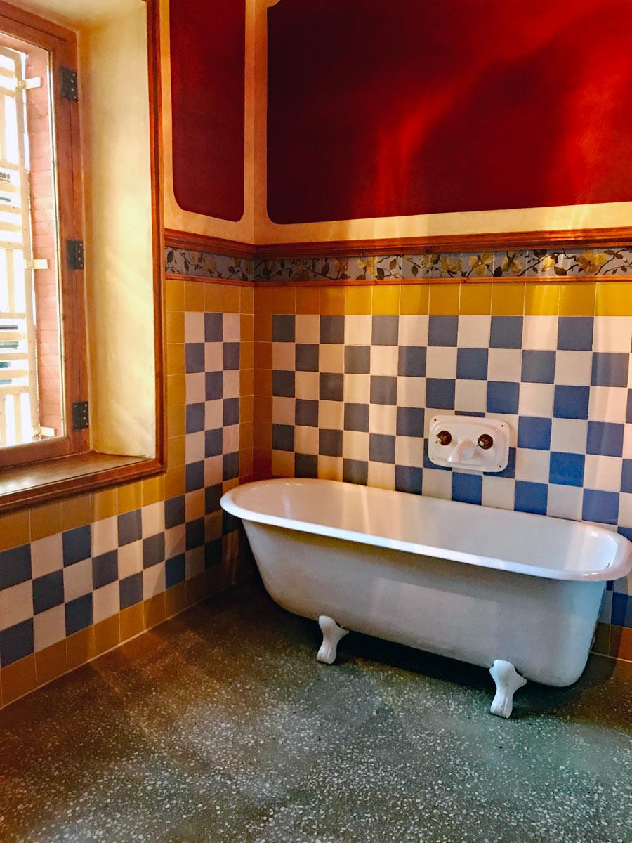 Victorian bathtub in Gaudi's Vicnes Home in Barcelona, Spain.