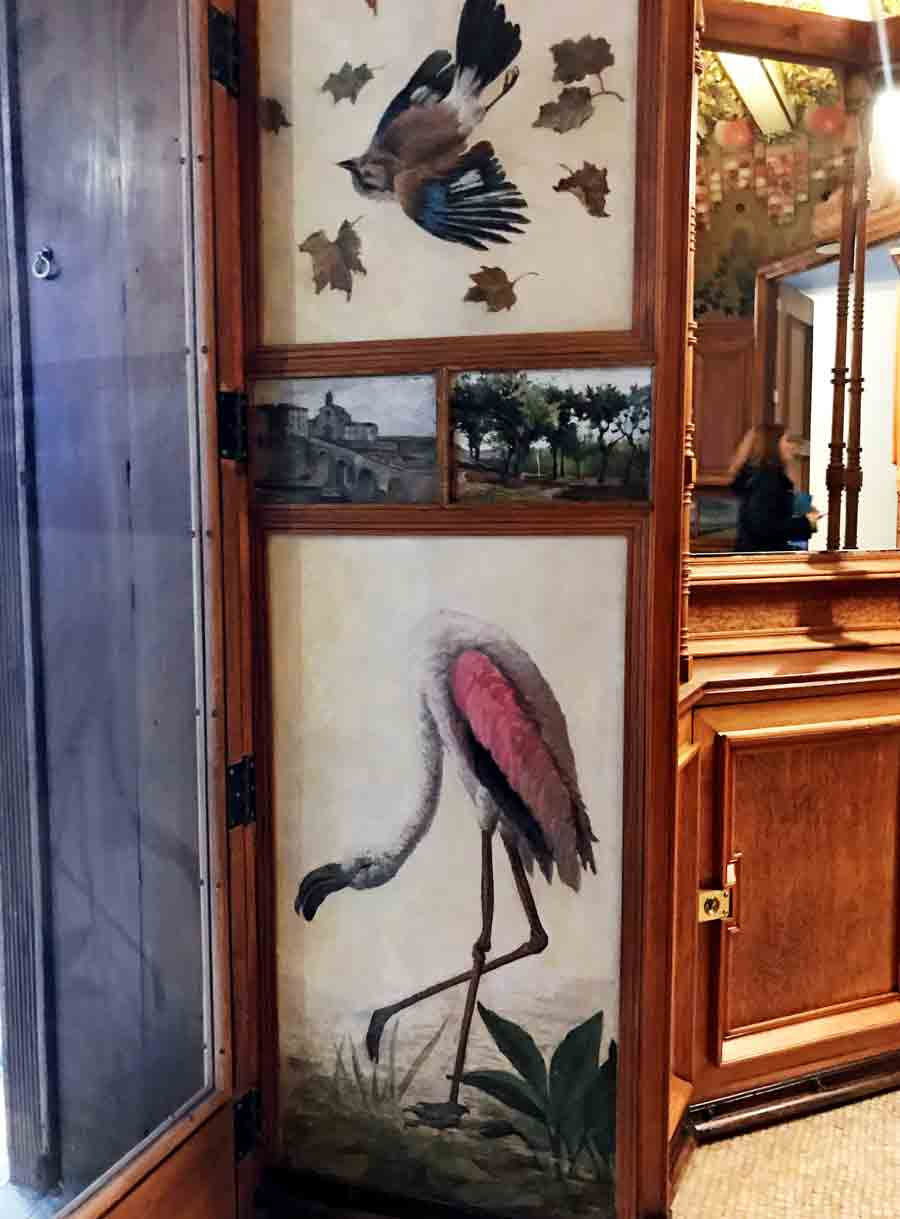 Painted fresco of a crane in Gaudi's Vincens Home in Barcelona, Spain