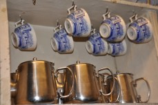 Cups and metal teapots