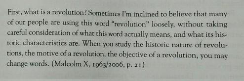 ¿Qué es una revolución?, Malcolm X