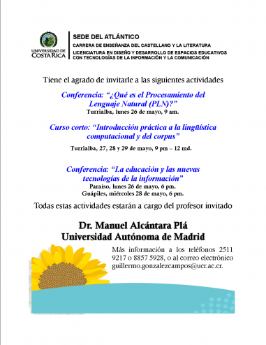 Cartel del curso y conferencias en Universidad de Costa Rica