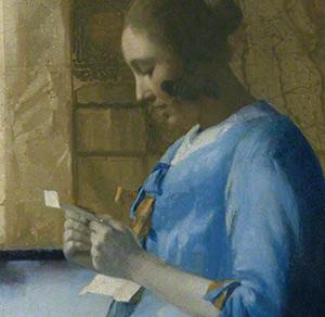 """Fragmento de """"Mujer leyendo una carta"""" de Vermeer"""