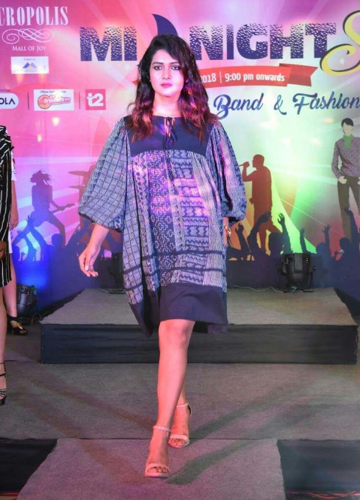 Fashion Designing Students of INIFT showcasing their design work at an Event