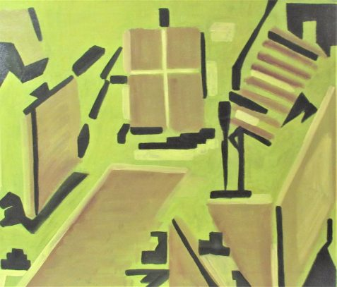 Oil painting of modernistic furnishings