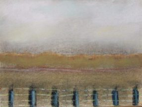Pastel drawing of roadside landscape post fence