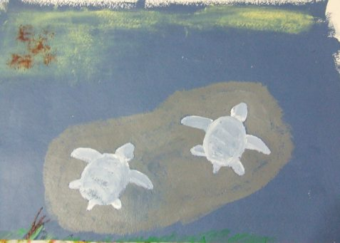 Oil painting of white ghost turtles