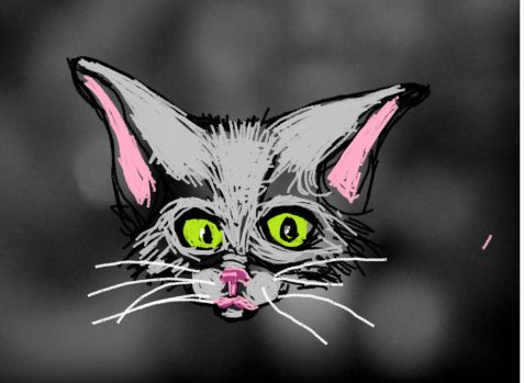 Digital painting of curious kitten
