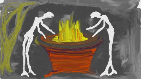 Digital painting of skeletal figures at cauldron