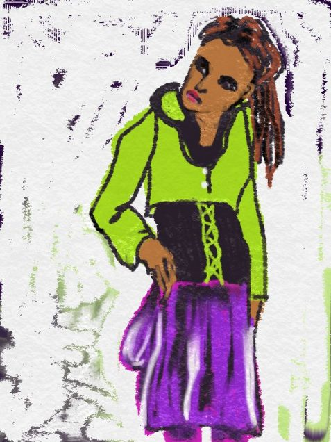 Digital drawing of woman in hoodie feeling resentful