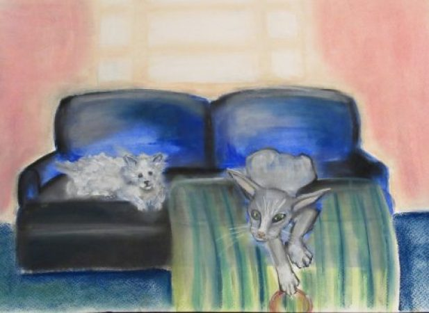 Pastel drawing of cat with milk ring Cairn terrier in background