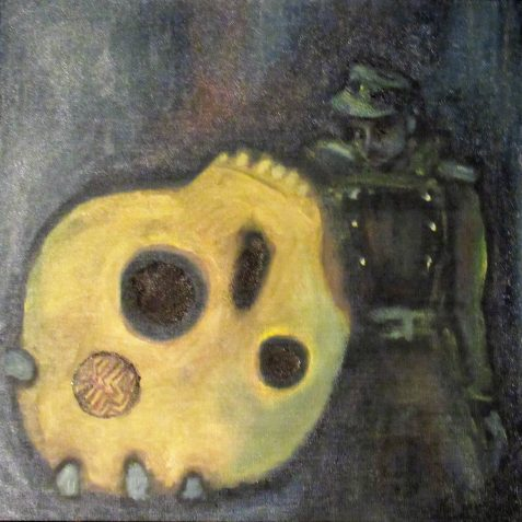 Oil painting of soldier brandishing talismanic skull