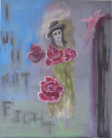 Oil painting of woman carrying roses cruxified figure in background