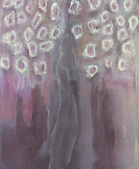 Oil painting of elongated figure in abstract hailstorm