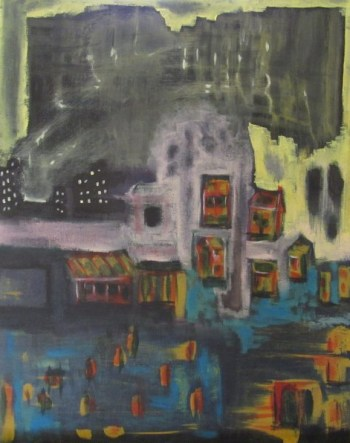 Short Stories abstract painting of inundated city art for The Blue Bird