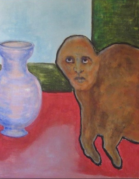 Oil painting of flea with face of man