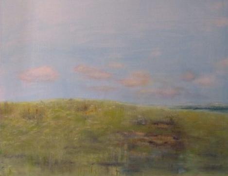 Oil painting of seaside meadow