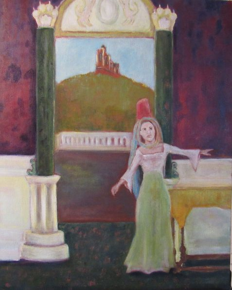 Oil painting of woman in palatial room