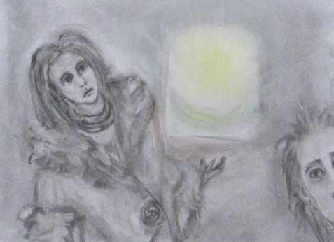 Charcoal and pastel drawing of woman wearing clothing from ancient Britain