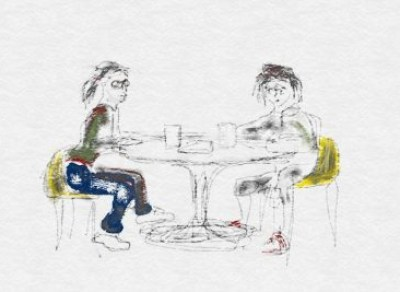 Digital drawing of two women at cafe table