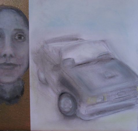 Pastiche of oil painting cameo woman's face and pastel drawing 1980s Mustang