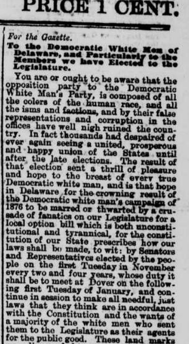 """Newspaper clipping on Democrats when they could be called the """"White Man's Party"""""""