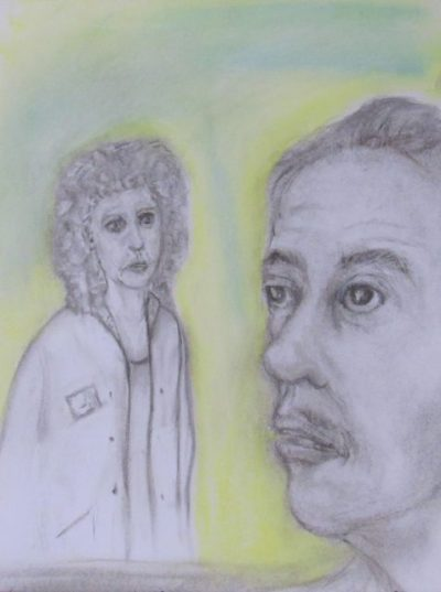 Charcoal and pastel drawing of couple woman in salon coat