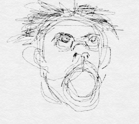 drawing of screaming face art for poem Crash