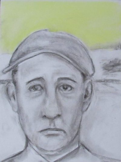 Charcoal and pastel drawing of unhappy man wearing cap