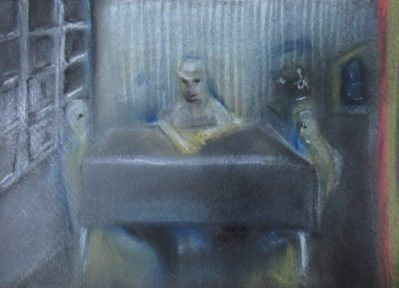 pastel drawing unhappy family at restaurant table art for poem Come Back