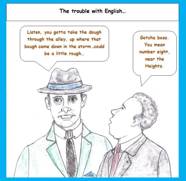 Cartoon of gangsters, taking off on English pronunciation