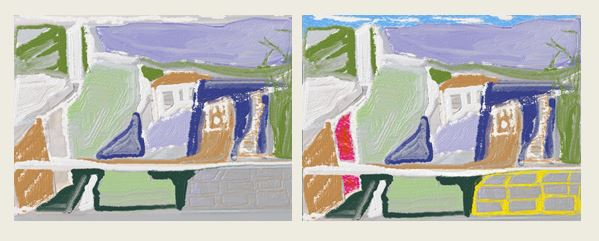 Digital paintings showing effect of primary colors
