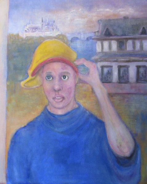 Oil painting of young woman in yellow cap