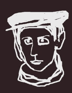 Digital drawing of woman in billed cap and scarf