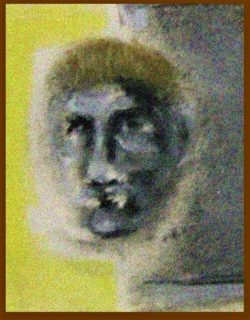 Pastel drawing of man giving challenging look