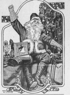 Newspaper clipping of Santa raising arm in celebration
