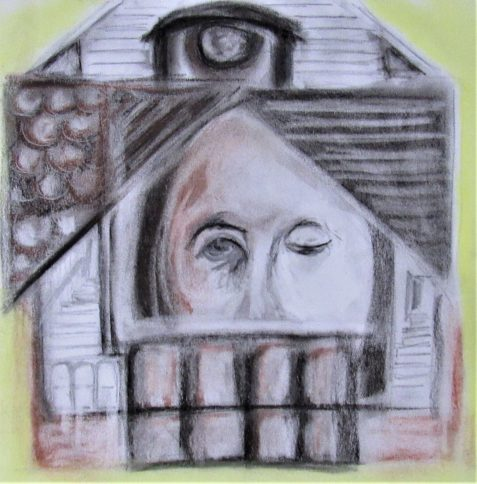 Charcoal and pastel drawing of dilapidated house woman's face