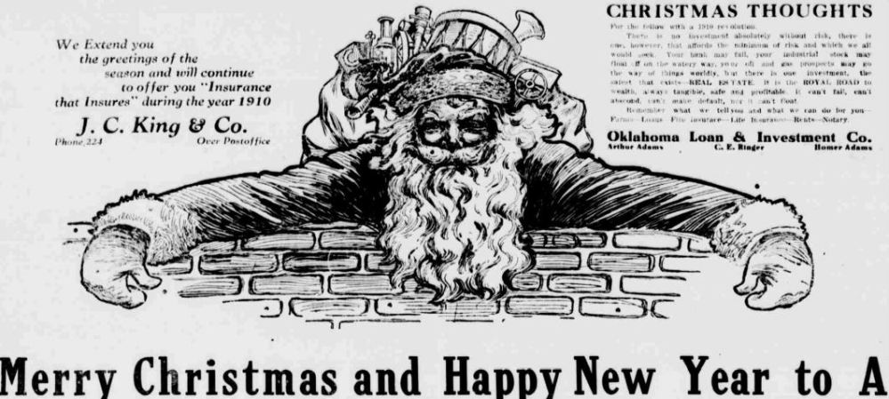 Newspaper advertisement depicts angy-faced Santa