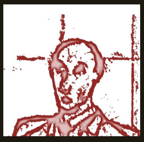 Stylized drawing of man outlined in blood spatters