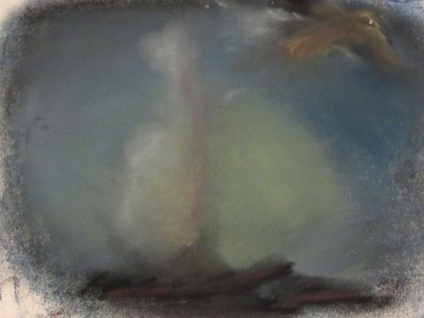 Pastel drawing of bird flying away from bonfire