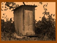 Short Stories stylized photo of an outhouse art for Lewis